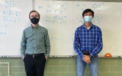 Junior Nicholas Djedjos (right) dresses as math teacher Dr. Benge (left).