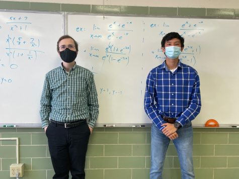 Junior Nicholas Djedjos (right) dresses as math teacher Dr. Benge (left).