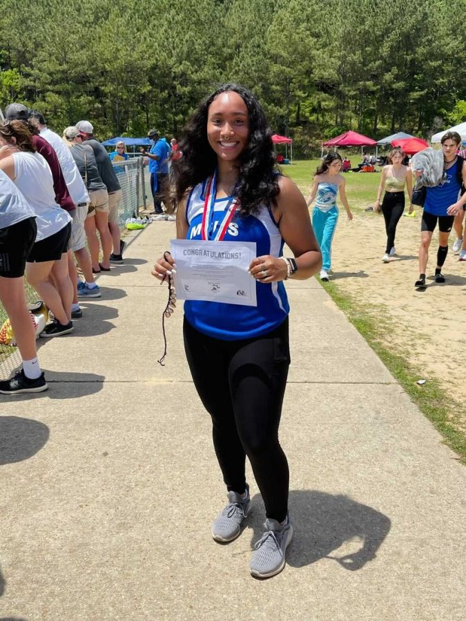 Senior Hailey Manning (pictured) won first place in discus at Track and Field's state meet.