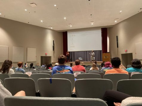 Students with an interest in chemical engineering attend a seminar hosted by professors from MSU.